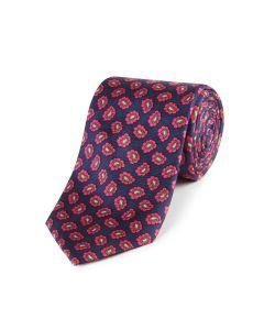Navy Pink Paisley Silk Tie